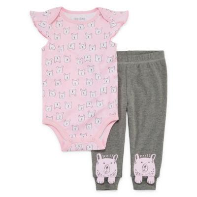 Okie Dokie Bear 2-pc. Bodysuit Set-Baby Girls NB-24M