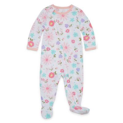 Okie Dokie Floral Print Full Zip Sleep and Play - Baby Girl NB-9M