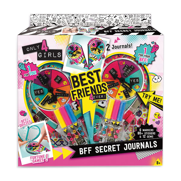 Only 4 Girls - BFF Secret Journals, Colors and Styles Will Vary