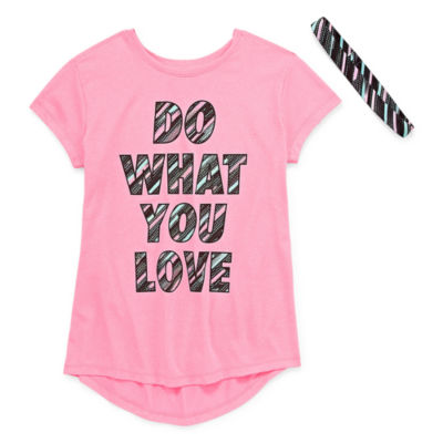 Xersion Poly Graphic Short Sleeve Tee with Headband - Girls' 4-16 and Plus