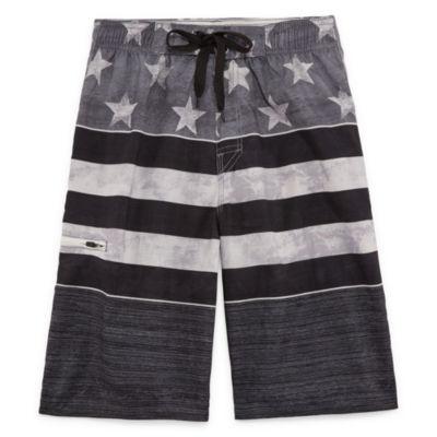 Americana Stripe Swim Trunks-Boys 8-20