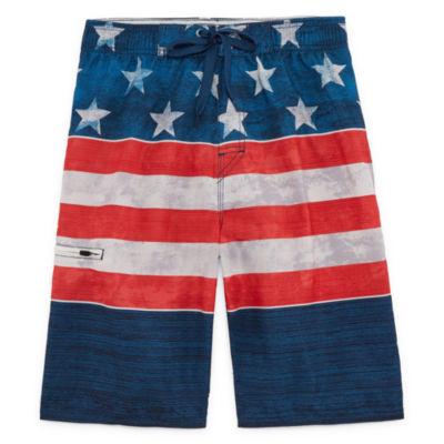 Americana Stripe Swim Trunks- Boys 8-20
