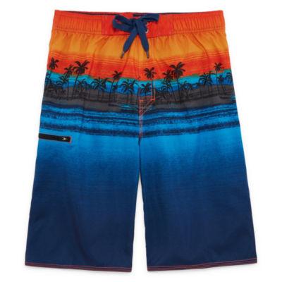 Island Print Swim Trunks-Boys 8-20