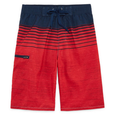 Forever Red Stripe Swim Trunks-Boys 8-20