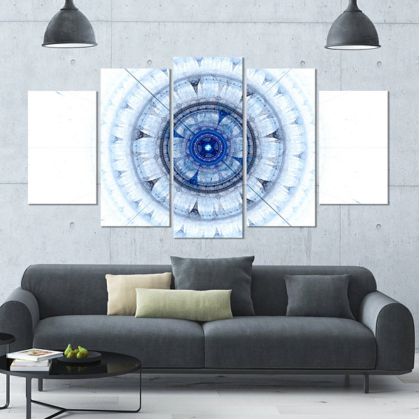 Designart Cabalistic Blue Fractal Sphere Contemporary CanvasArt Print - 5 Panels