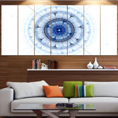 Designart Cabalistic Blue Fractal Sphere AbstractCanvas ArtPrint - 7 Panels