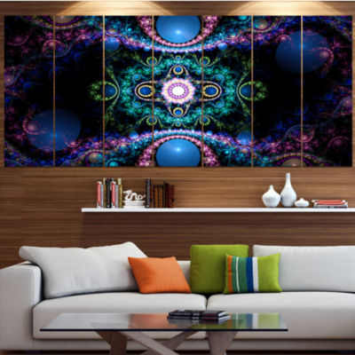 Design Art Cabalistic Blue Fractal Pattern Contemporary Canvas Art Print - 5 Panels