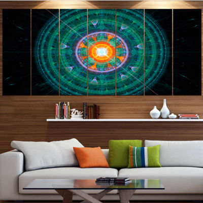 Designart Cabalistic Turquoise Fractal Sphere Contemporary Canvas Art Print - 5 Panels
