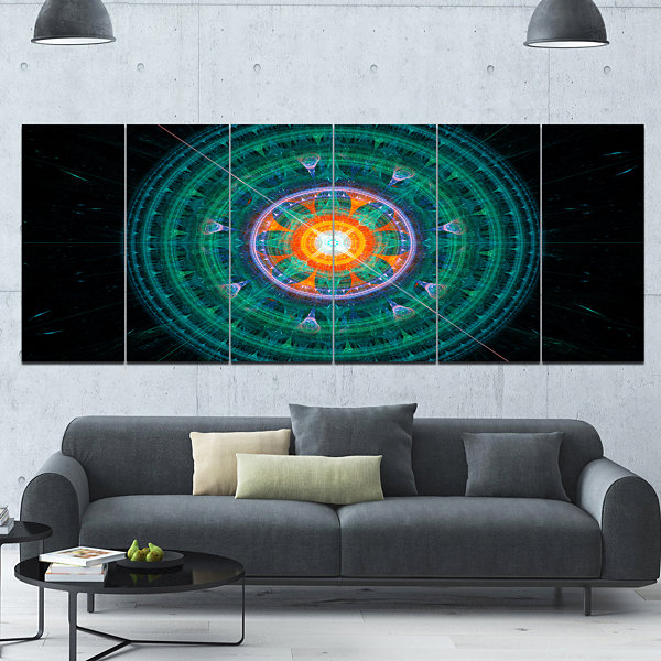 Designart Cabalistic Turquoise Fractal Sphere Abstract Canvas Art Print - 6 Panels