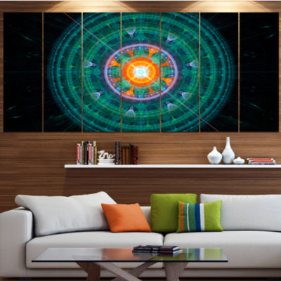 Designart Cabalistic Turquoise Fractal Sphere Abstract Canvas Art Print - 7 Panels