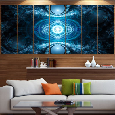 Designart Cabalistic Light Blue Pattern Contemporary CanvasArt Print - 5 Panels