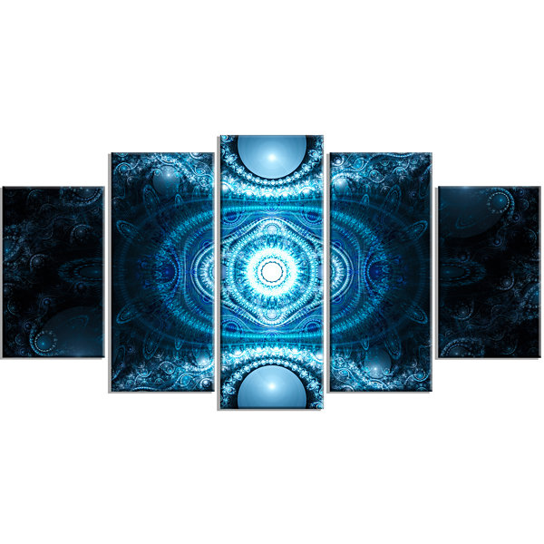 Design Art Cabalistic Light Blue Pattern Contemporary CanvasArt Print - 5 Panels