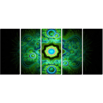 Cabalistic Bright Green Texture Abstract Canvas Art Print - 5 Panels