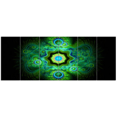 Designart Cabalistic Bright Green Texture AbstractCanvas Art Print - 6 Panels