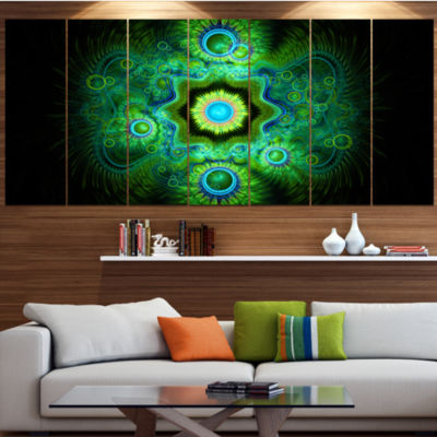 Designart Cabalistic Bright Green Texture AbstractCanvas Art Print - 7 Panels