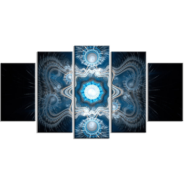 Designart Cabalistic Clear Blue Texture Contemporary CanvasArt Print - 5 Panels