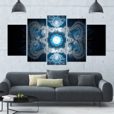 Cabalistic Clear Blue Texture Contemporary CanvasArt Print - 5 Panels