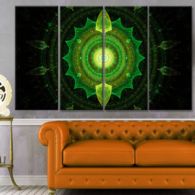 Cabalistic Green Fractal Sphere Abstract Canvas Art Print - 4 Panels