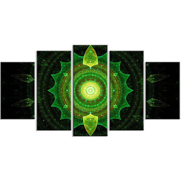 Design Art Cabalistic Green Fractal Sphere Contemporary Canvas Art Print - 5 Panels