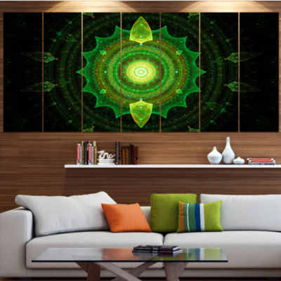 Designart Cabalistic Green Fractal Sphere AbstractCanvas Art Print - 5 Panels