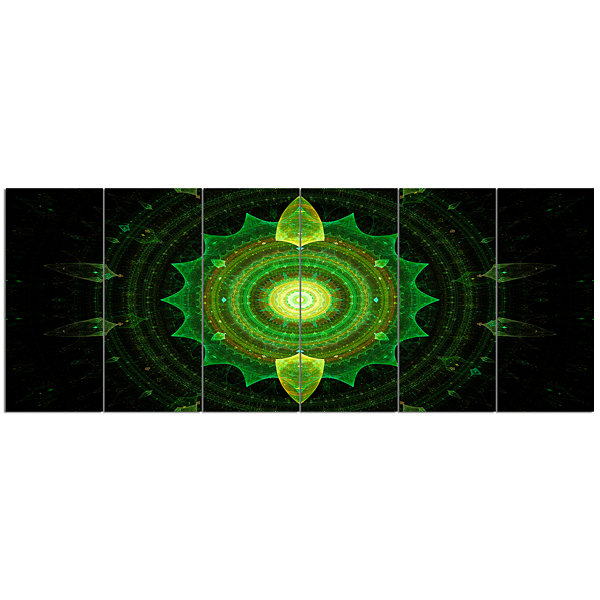 Design Art Cabalistic Green Fractal Sphere Abstract Canvas Art Print - 6 Panels