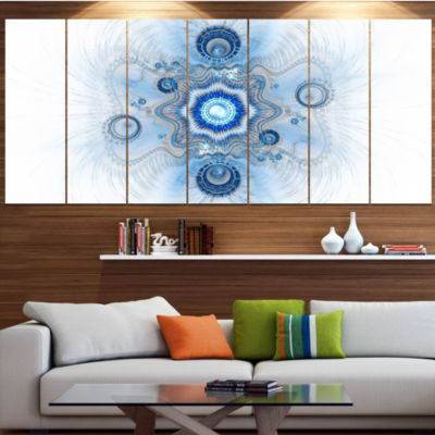 Cabalistic Blue Star Flower Abstract Canvas Art Print - 5 Panels