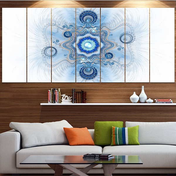 Designart Cabalistic Blue Star Flower Abstract Canvas Art Print - 5 Panels