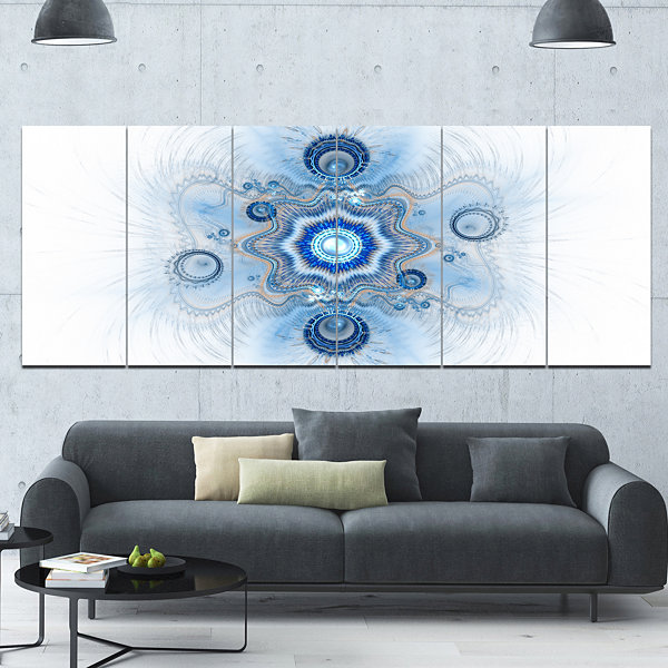 Design Art Cabalistic Blue Star Flower Abstract Canvas Art Print - 6 Panels