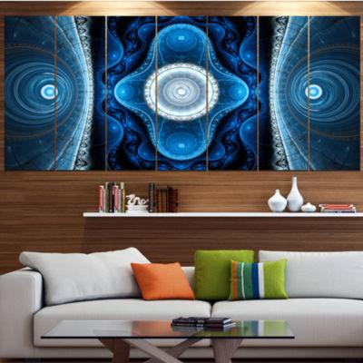 Designart Cabalistic Blue Fractal Design AbstractCanvas ArtPrint - 7 Panels