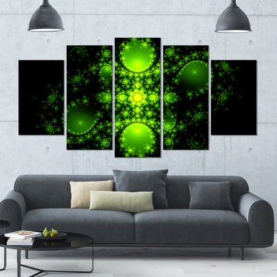 Cabalistic Green Fractal Design Contemporary Canvas Art Print - 5 Panels