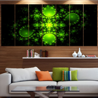 Designart Cabalistic Green Fractal Design Contemporary Canvas Art Print - 5 Panels