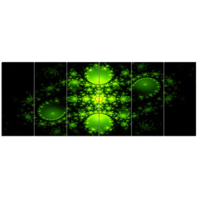 Cabalistic Green Fractal Design Abstract Canvas Art Print - 6 Panels