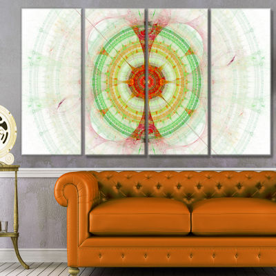 Cabalistic Fractal Green Sphere Abstract Wall ArtCanvas - 4 Panels