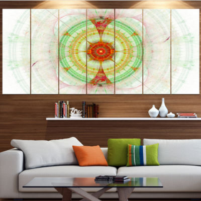 Cabalistic Fractal Green Sphere Abstract Wall ArtCanvas - 7 Panels