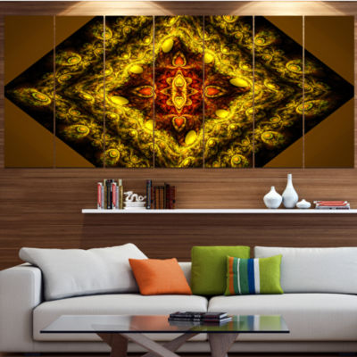 Design Art Cabalistic Yellow Fractal Design Abstract Wall ArtCanvas - 7 Panels