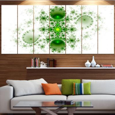 Designart Cabalistic Nature Green Fractal Art Abstract WallArt Canvas - 4 Panels