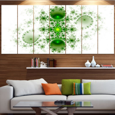 Cabalistic Nature Green Fractal Art Contemporary Wall Art Canvas - 5 Panels