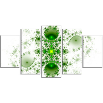 Designart Cabalistic Nature Green Fractal Art Contemporary Wall Art Canvas - 5 Panels