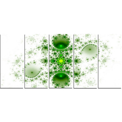 Designart Cabalistic Nature Green Fractal Art Abstract WallArt Canvas - 5 Panels