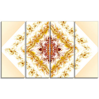 Yellow Rhombus Fractal Design Abstract Wall Art Canvas - 4 Panels