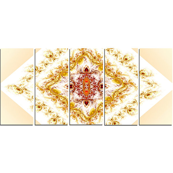 Yellow Rhombus Fractal Design Abstract Wall Art Canvas - 5 Panels