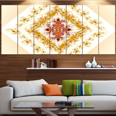 Yellow Rhombus Fractal Design Abstract Wall Art Canvas - 6 Panels