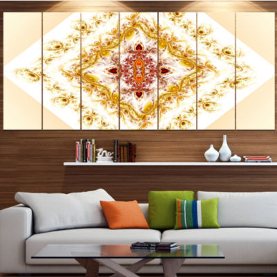 Yellow Rhombus Fractal Design Abstract Wall Art Canvas - 7 Panels
