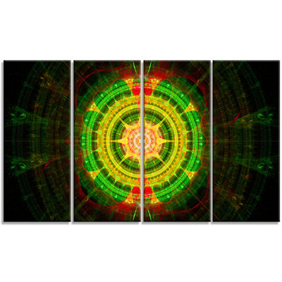 Designart Bright Green Fractal Sphere Abstract Wall Art Canvas - 4 Panels