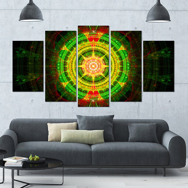 Designart Bright Green Fractal Sphere ContemporaryWall ArtCanvas - 5 Panels