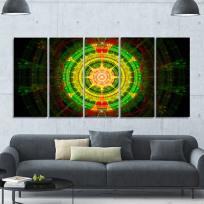 Designart Bright Green Fractal Sphere Abstract Wall Art Canvas - 5 Panels
