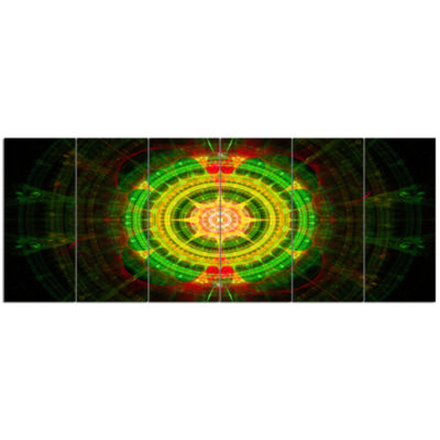 Bright Green Fractal Sphere Abstract Wall Art Canvas - 6 Panels