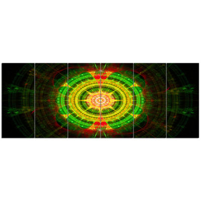 Designart Bright Green Fractal Sphere Abstract Wall Art Canvas - 6 Panels