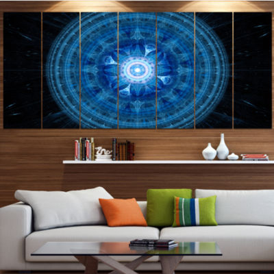 Bright Blue Fractal Sphere Abstract Wall Art Canvas - 4 Panels