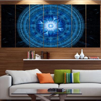 Designart Bright Blue Fractal Sphere Abstract WallArt Canvas - 4 Panels